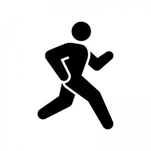 陸上・マラソンなどの走る競技の白黒シルエットイラスト