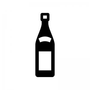 日本酒・一升瓶の白黒シルエットイラスト