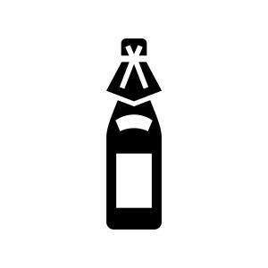 日本酒・一升瓶の白黒シルエットイラスト02