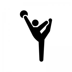 新体操・ボールの白黒シルエットイラスト