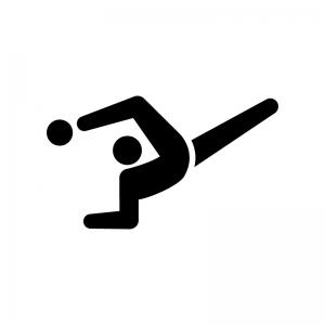 新体操・ボールの白黒シルエットイラスト02