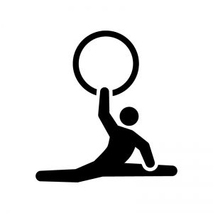 新体操・フープの白黒シルエットイラスト