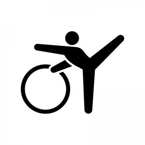 新体操・フープの白黒シルエットイラスト02