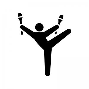 新体操・クラブ(こん棒)の白黒シルエットイラスト
