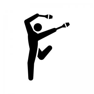 新体操・クラブ(こん棒)の白黒シルエットイラスト02