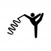 新体操・リボンの白黒シルエットイラスト