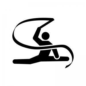 新体操・リボンの白黒シルエットイラスト02