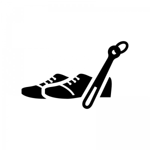 靴と靴べらの白黒シルエットイラスト