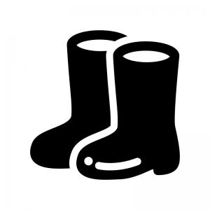 長靴の白黒シルエットイラスト04