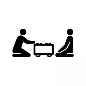 将棋の対局の白黒シルエットイラスト