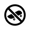 スケートボード禁止の白黒シルエットイラスト