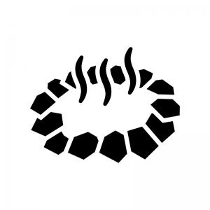 岩風呂・温泉の白黒シルエットイラスト