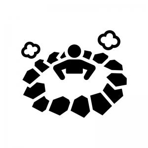 温泉に入っている白黒シルエットイラスト02