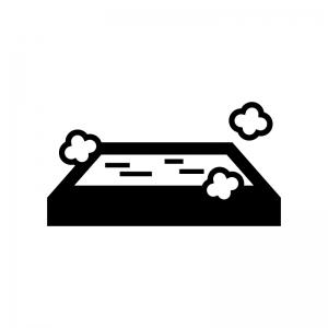 温泉の白黒シルエットイラスト