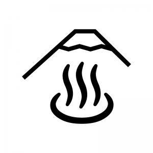 露天風呂の白黒シルエットイラスト02