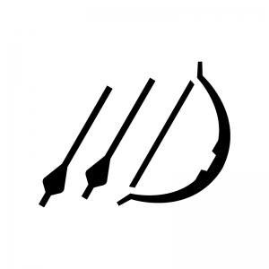 アーチェリーの白黒シルエットイラスト02
