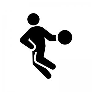 バスケットボールの白黒シルエットイラスト03