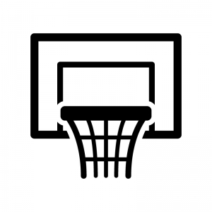 バスケットボールのゴールの白黒シルエットイラスト