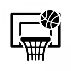 バスケットボールのゴールの白黒シルエットイラスト02