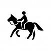 乗馬の白黒シルエットイラスト