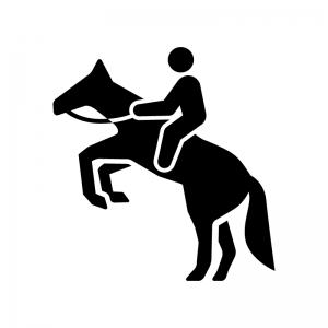 乗馬の白黒シルエットイラスト02