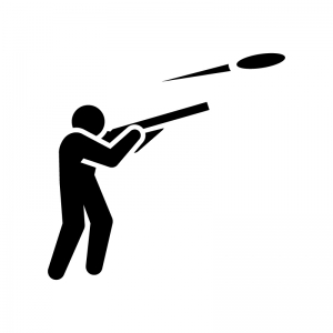 クレー射撃の白黒シルエットイラスト