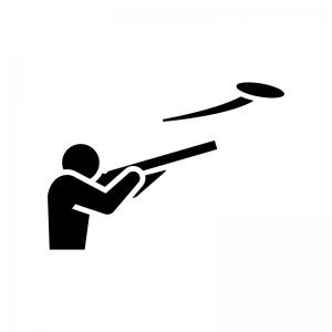 クレー射撃の白黒シルエットイラスト02