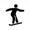 スノーボードの白黒シルエットイラスト