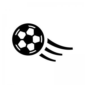 サッカーボールの白黒シルエットイラスト04