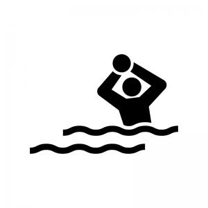 水球の白黒シルエットイラスト02