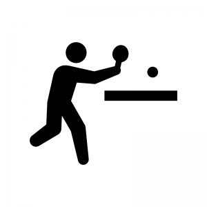卓球の白黒シルエットイラスト