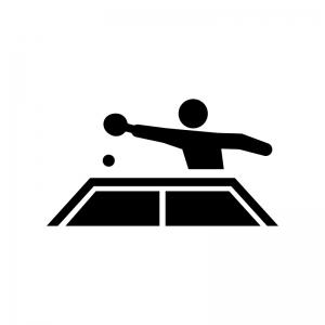 卓球の白黒シルエットイラスト02