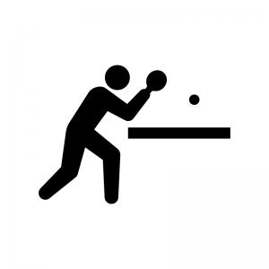 卓球の白黒シルエットイラスト03