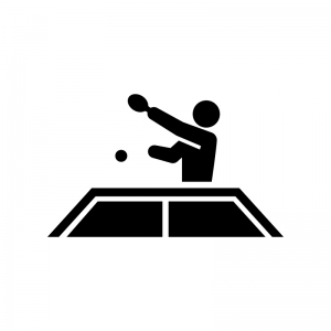 卓球の白黒シルエットイラスト04