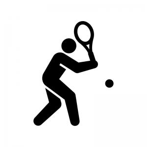 テニスの白黒シルエットイラスト03