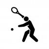 テニスの白黒シルエットイラスト04