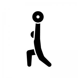 ウエイトリフティング(重量挙げ)の白黒シルエットイラスト02