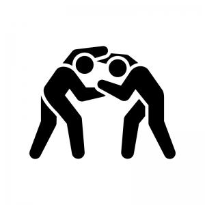 レスリングの白黒シルエットイラスト02