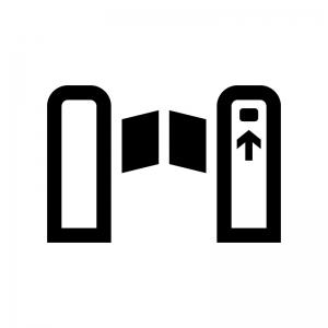 駅・自動改札の白黒シルエットイラスト02