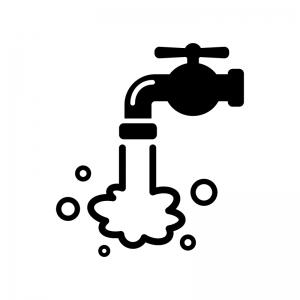 水道から水が出るシルエットイラスト