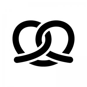 プレッツェルの白黒シルエットイラスト02