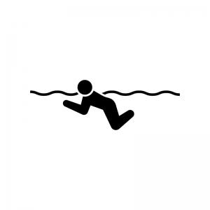 水泳・平泳ぎの白黒シルエットイラスト