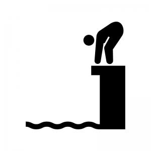 水泳の飛び込みの白黒シルエットイラスト03