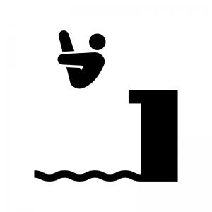 水泳の飛込競技の白黒シルエットイラスト