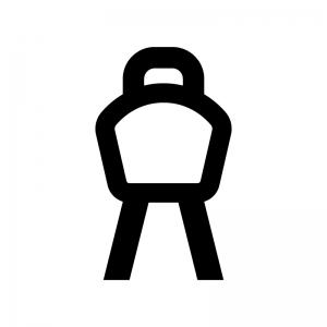 体操のあん馬の白黒シルエットイラスト02