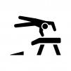 体操競技・跳馬の白黒シルエットイラスト02
