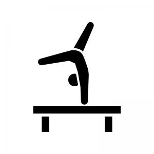 体操競技・平均台の白黒シルエットイラスト