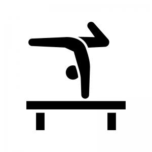 体操競技・平均台の白黒シルエットイラスト02