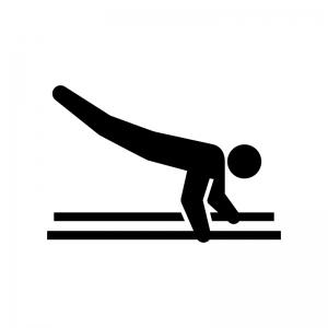 体操競技・平行棒の白黒シルエットイラスト