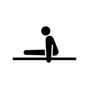 体操競技・平行棒の白黒シルエットイラスト02